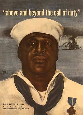 World War 2 Poster With A Portrait Art Print by Everett