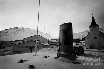 world war 2 two memorial outside Honningsvag kirke church finnmark norway europe Art Print by Joe Fox