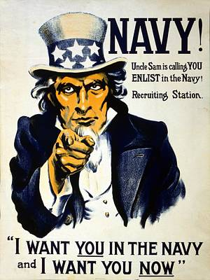 Navies Drawing - World War I 1914 1918 American Recruitment Poster 1917 Navy Uncle Sam Is Calling You  by Anonymous