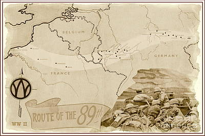Mixed Media - World War I I Map Route Of The 89th by Marilyn Smith