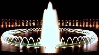 Photograph - World War II Memorial And Fountain At Night by Karen Saunders