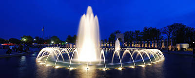 Photograph - World War II Memorial Fountain Panorama In Washington Dc by Songquan Deng