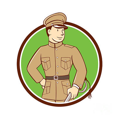 Www1 Digital Art - World War One British Officer Circle Cartoon  by Aloysius Patrimonio