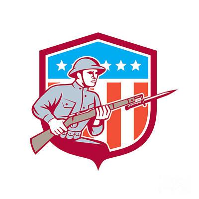 World War One Digital Art - World War One Soldier American Retro Shield by Aloysius Patrimonio