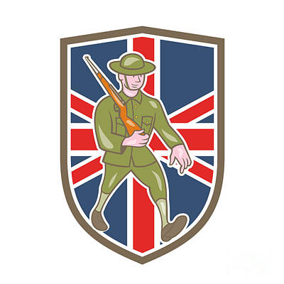 Www1 Digital Art - World War One Soldier British Marching Cartoon Shield by Aloysius Patrimonio