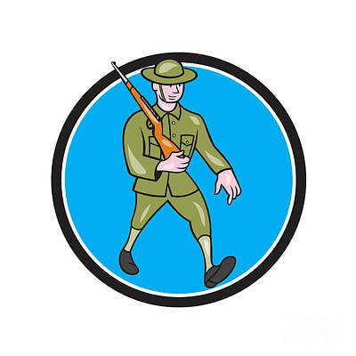 Www1 Digital Art - World War One Soldier British Marching Circle Cartoon by Aloysius Patrimonio