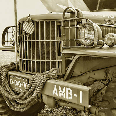 Photograph - World War Two Army Ambulance In Sepia by Ann Powell