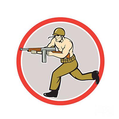 World War Two Soldier American Tommy Gun  Art Print by Aloysius Patrimonio