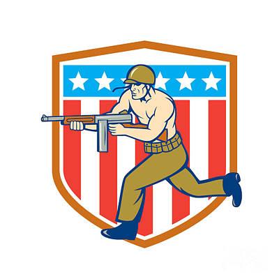 World War Two Soldier American Tommy Gun Shield Art Print