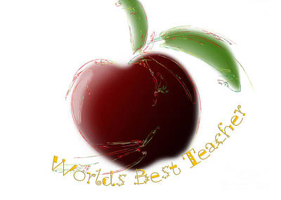 Andee Design Red Digital Art - Worlds Best Teacher by Andee Design