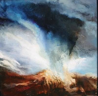 Turbulent Skies Painting - Worlds Collide by Lissa Bockrath