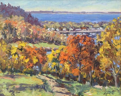 Boston Painting - World's End In Autumn by Chris Coyne