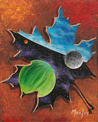 Painting - Worlds In A Leaf by Michael Ivy
