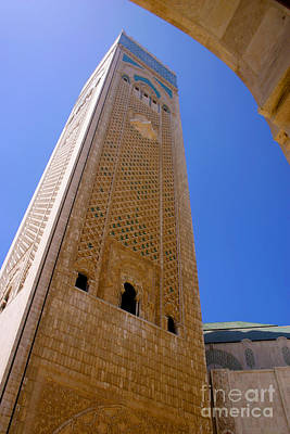 Sour Photograph - Worlds Tallest Minaret At 210m Hassan II Mosque Grand Mosque Sour Jdid Casablanca Morocco by Ralph A  Ledergerber-Photography