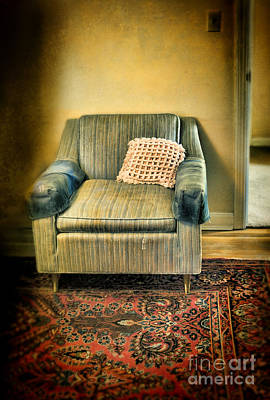 Empty Chairs Photograph - Worn Chair By Doorway by Jill Battaglia