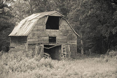 Worn Down Barn - Sepia Art Print