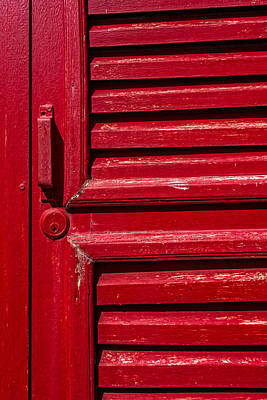 Photograph - Worn Red Shuttered Door by James Hammond