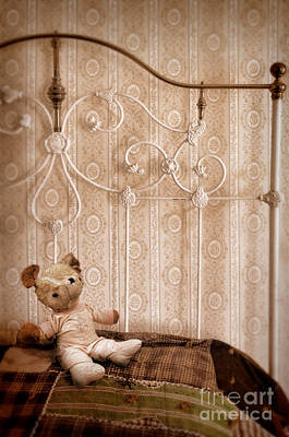 Bed Quilts Photograph - Worn Teddy Bear On Brass Bed by Jill Battaglia