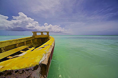 Worn Yellow Fishing Boat Of Aruba II Art Print