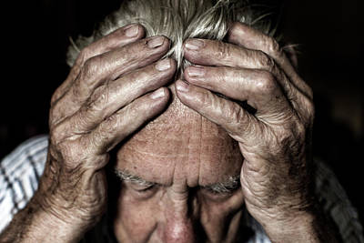 Human Head Photograph - Worried Elderly Man by Mauro Fermariello