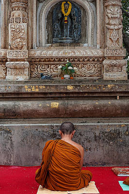 Worshiping Budha Art Print by Mukesh Srivastava