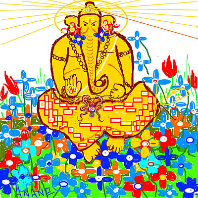Digital Art - Worshiping Lord Ganesha by Anand Swaroop Manchiraju