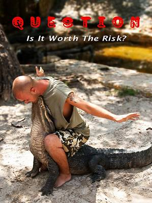 Alligator Mixed Media - Worth The Risk by Bob Pardue