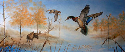 Wood Duck Painting - Would Duck by Whitey Thompson