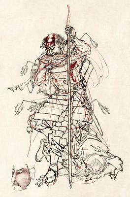 Wounded Samurai Drinking Sake C. 1870 Art Print by Daniel Hagerman
