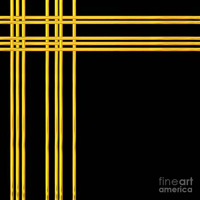 Digital Art - Woven 3d Look Golden Bars Abstract by Rose Santuci-Sofranko