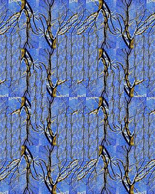 Woven Tree In Blue And Gold Art Print