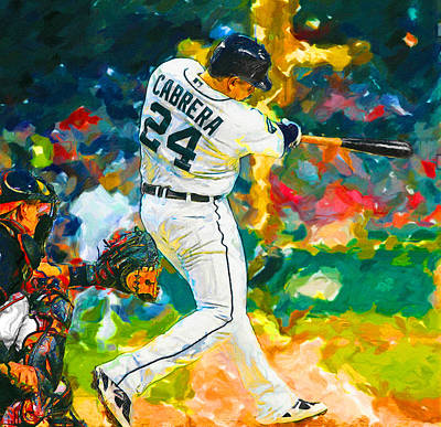 Detroit Tigers Painting - Wow Cabrera by John Farr