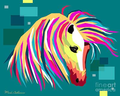 Modern Digital Art Digital Art Painting - Wpap Horse by Mark Ashkenazi