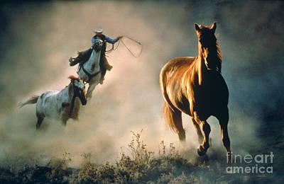 Horse Back Riding Photograph - Wrangler Rounding Up Horses by Ron Sanford