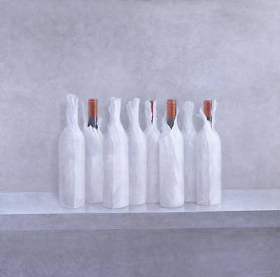 Wrapped Bottles On Grey 2005 Art Print by Lincoln Seligman