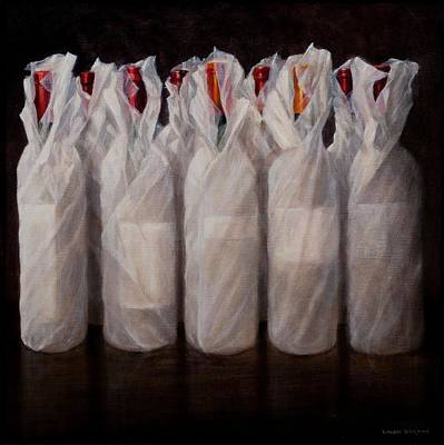 Red Wine Painting - Wrapped Wine Bottles by Lincoln Seligman