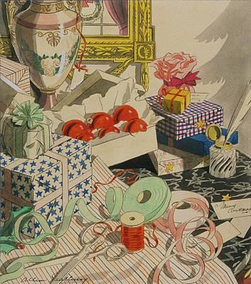 Wrapping Christmas Presents Art Print by Leslie Saalburg