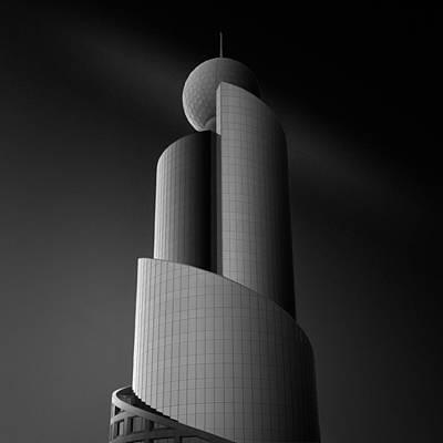 Skyscrapers Wall Art - Photograph - Wrapping Lights Around C by Sajin Sasidharan