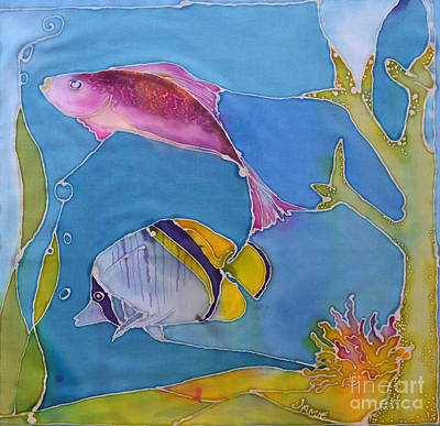 Under The Red Wall Painting - Wrasse And Raccoon by Jamie Schab