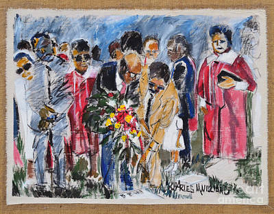 Gravesite Painting - Wreath Laying by Charles M Williams