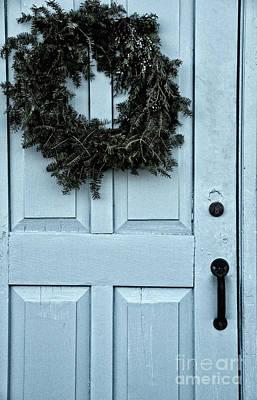 Wreath On Old Blue Door Art Print by Birgit Tyrrell