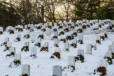 Photograph - Wreaths At Arlington National Cemetery by Karen Saunders