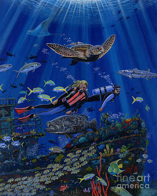 Scuba Painting - Wreck Divers Re0014 by Carey Chen