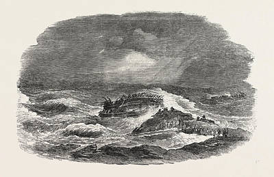 Charlotte Drawing - Wreck Of The Troop-ship Charlotte In Algoa Bay 1854 by English School