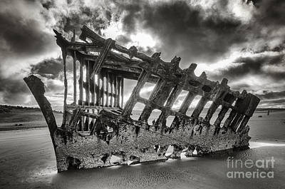 Wreck On The Shore Art Print by Melody Watson