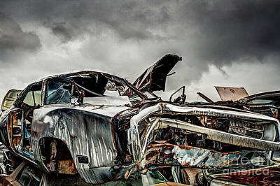 Wrecking Yard Photograph - Wrecked Charger by Mark Brooks