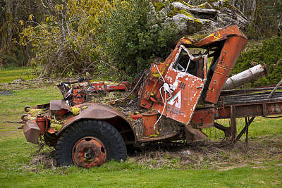 Photograph - Wrecked Logging Truck by Ron Roberts