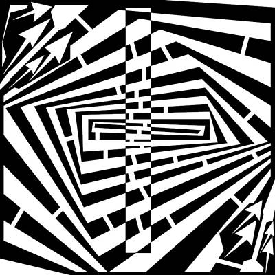 Illusory Drawing - Wrecked Rectangle Maze  by Yonatan Frimer Maze Artist