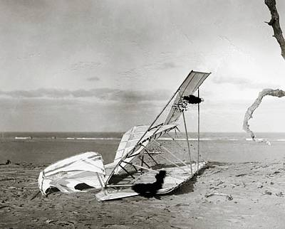 Wrecked Wright Brothers Glider Print by Library Of Congress