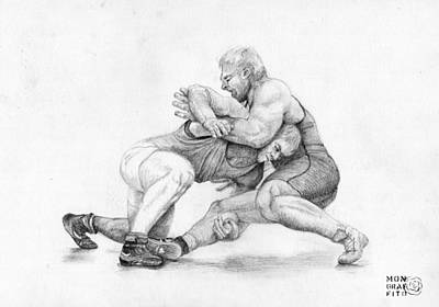 Wrestling Drawing - Wrestlers by Mon Graffito